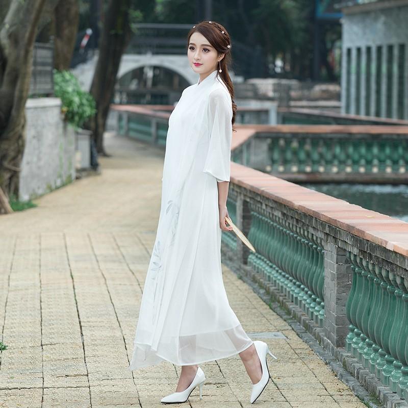 复古长款白色袍子改良新款茶艺服禅服七分袖仙女裙民族风连衣裙