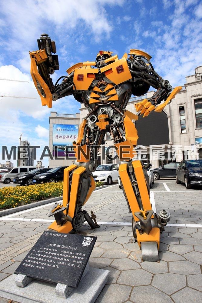 定制租赁创意工业风金属铁艺齿轮大型机器人摆件装饰品