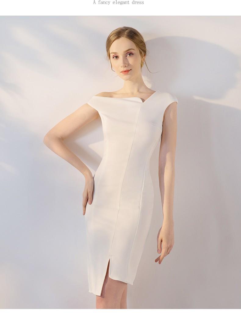 白色包臀礼服车展模特走秀酒会款式二(提前预定款)