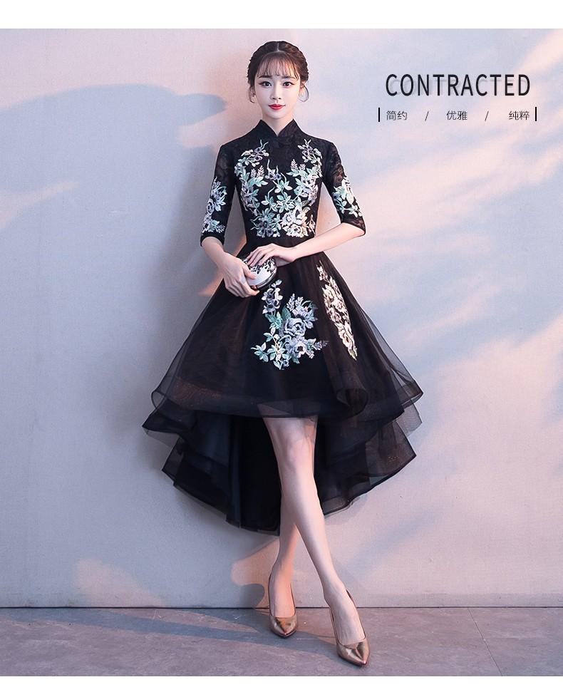 黑色短款礼服