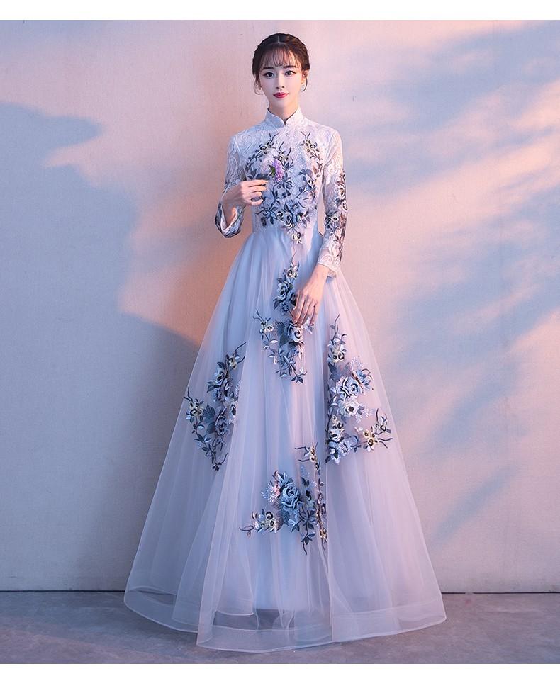 韩版长袖晚礼服裙(提前预定款)