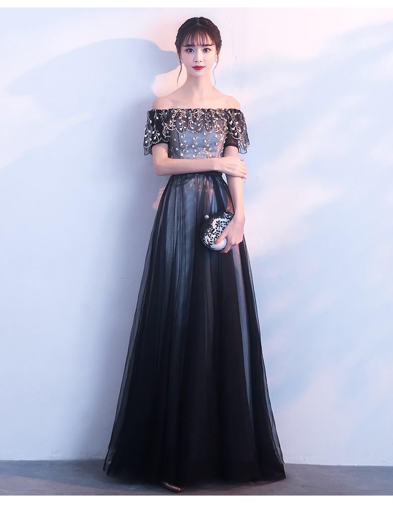 主持礼服长款一字肩显瘦黑色连衣裙(提前预定款)