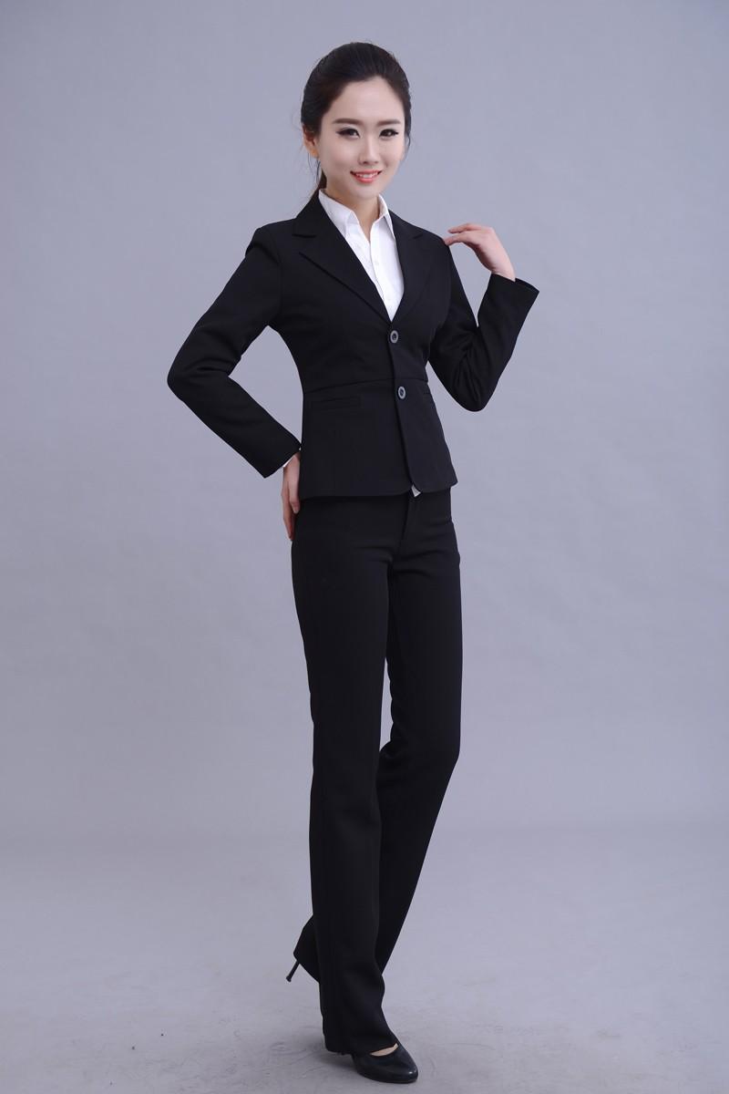 職業裝白襯衫女長袖長褲全套(襯衣西褲外套)