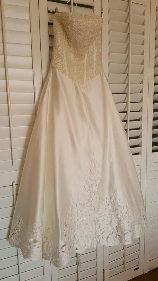 緞面釘珠拖尾抹胸婚紗