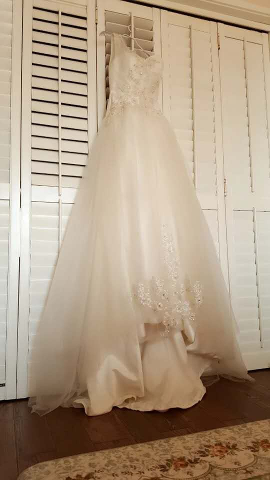 斜肩釘珠森女風拖尾婚紗
