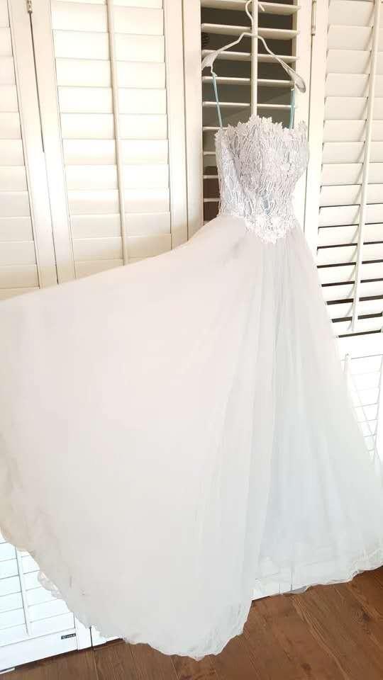 水溶蕾絲拼接6層灰藍色網紗齊地禮服裙 均碼號