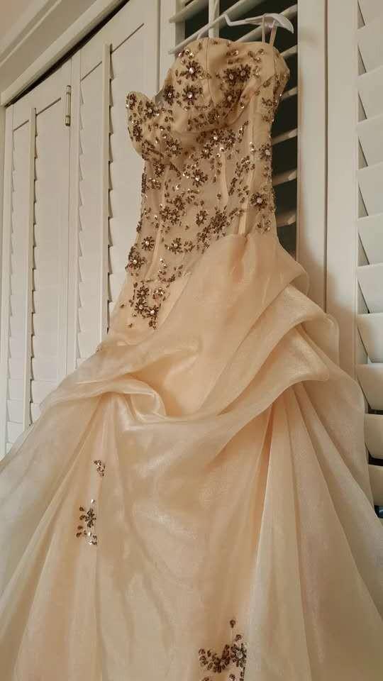淺金色半透刺繡釘珠抹胸齊地禮服