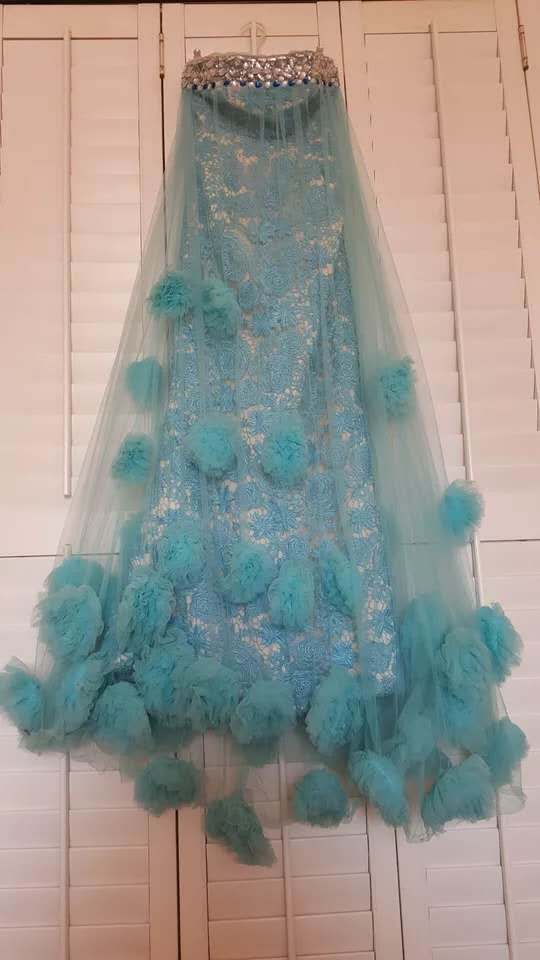 水藍色夢幻大花朵抹胸齊地禮服