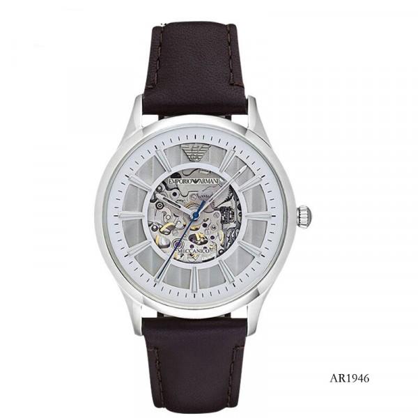 【租满即送】阿玛尼(Emporio Armani)皮质表带男士休闲简约机械时尚腕表