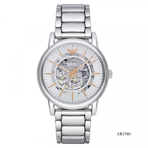 【租满即送】阿玛尼(EmporioArmani)钢制带镂空机械表 商务时尚防水休闲男士腕表