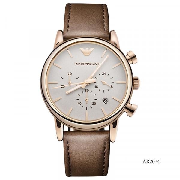 【租满即送】阿玛尼(Emporio Armani)皮质表带男士休闲时尚石英腕表