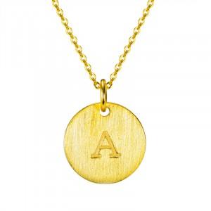 爆款s925純銀飾品 二十六英文字母圓牌項鏈(默認字母隨機發)
