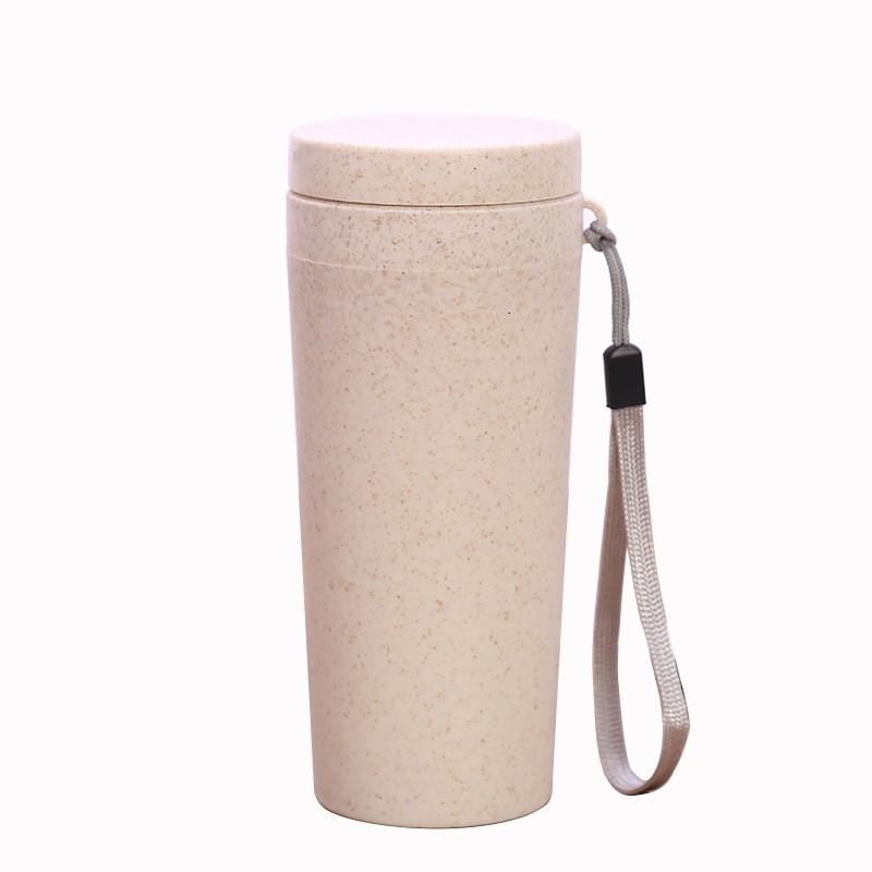 小麦杯秸秆纤维杯子 手提随行杯 双层麦香杯