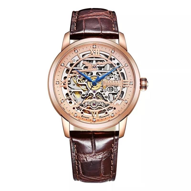 賓爵瑞士進口機芯機械鏤空鱷魚皮帶防水男士手表