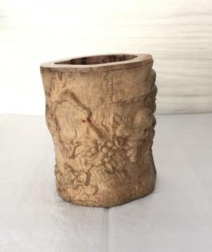 笔筒工艺品摆件实木雕刻新款办公礼品