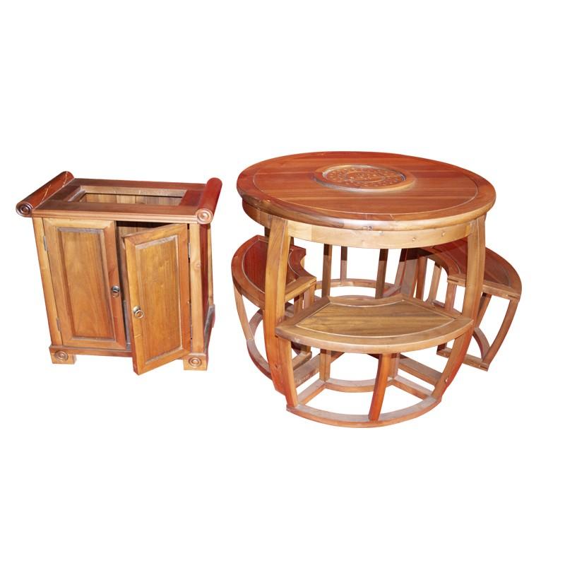 【租满即送】全新樏木实木圆形茶桌六件套 包邮