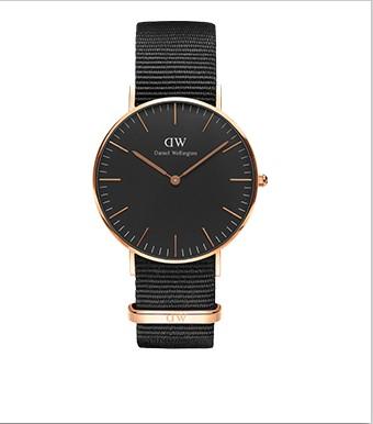 【租满即送】DW DW00100150黑盘金边超石英表