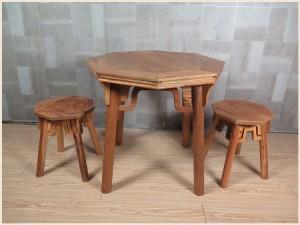 【租满即送】现在简约款原木色实木八角桌八角凳三件套