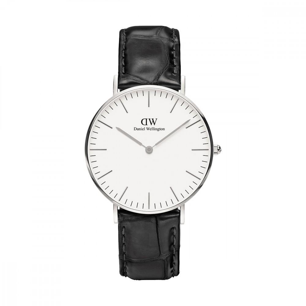 【到期可买断】DW腕表黑表盘金色边黑色纹理皮带超薄石英手表