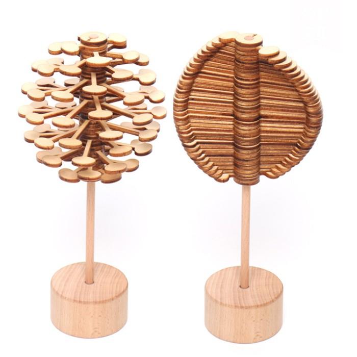 木制旋转棒棒糖MZM.p.15抖音同款费氏数列创意摆件 减压玩具陀螺