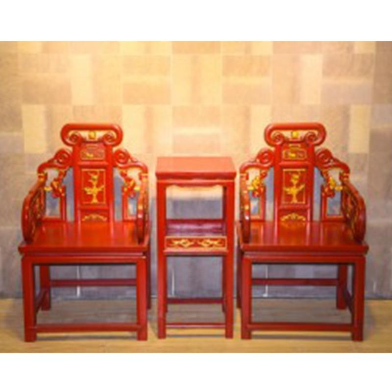 【租滿即送】樟木紅底鎏金太師椅三件套包郵