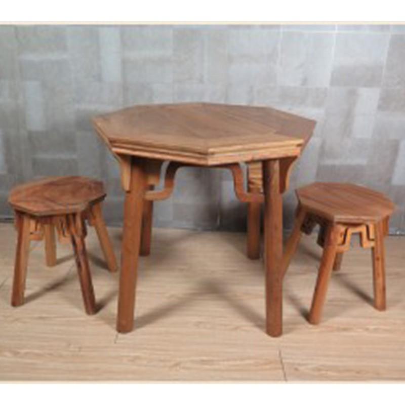 【租滿即送】現在簡約款原木色實木八角桌八角凳三件套
