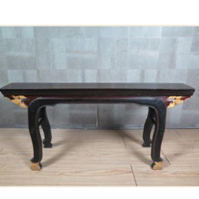【租滿即送】中式仿古馬腿雕花凳 黑色金漆長板凳