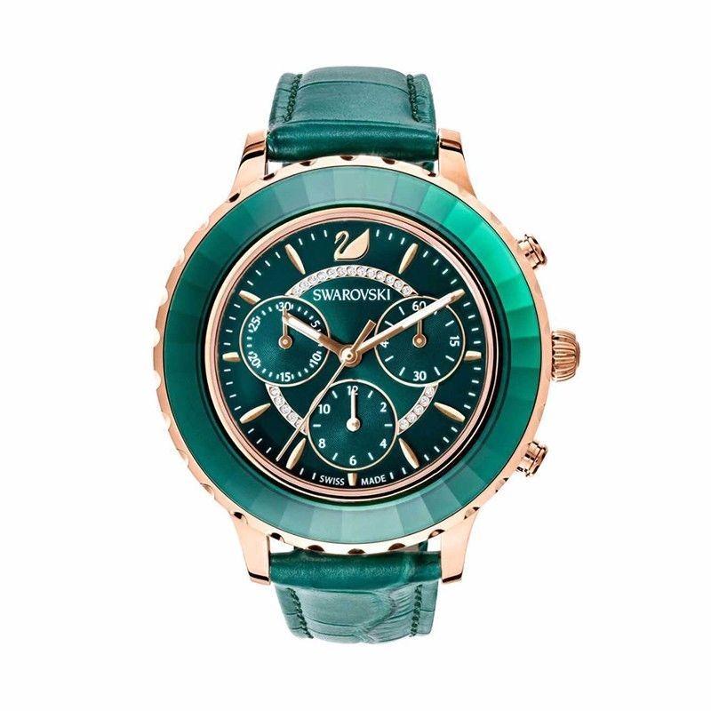 正品Swarovski施华洛世奇手表女满天星绿水鬼新款三眼皮带手表