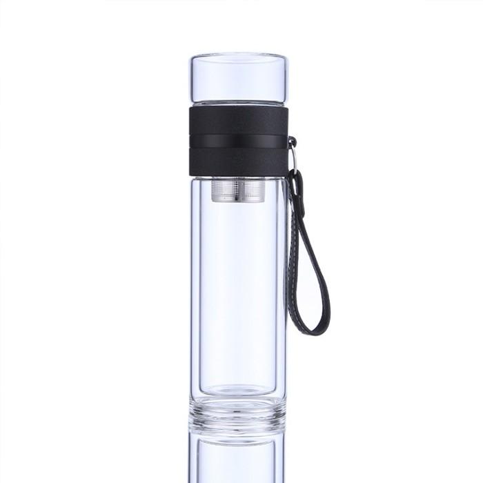 商务泡茶杯高硼硅两用便携式创意茶水分离杯过滤玻璃杯杯子礼品杯