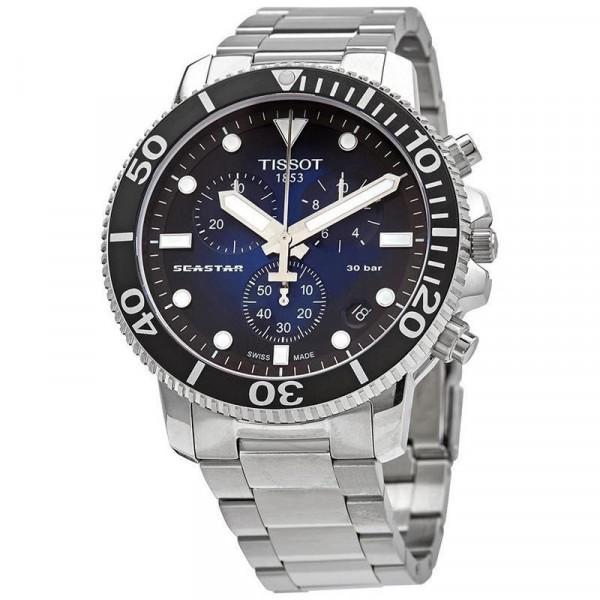 天梭TISSOT男士手表海星系列潜水表休闲运动钢带男士手表