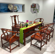 【文渊】刺猬紫檀茶台茶桌红木家具