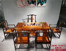 【惊鸿】檀香+东非酸枝茶台茶桌红木家具