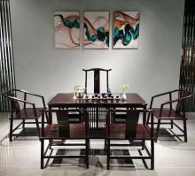 【细水长流】刺猬紫檀茶台茶桌红木家具