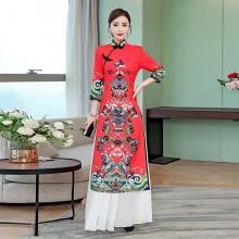 奧黛改良中國風旗袍兩件套