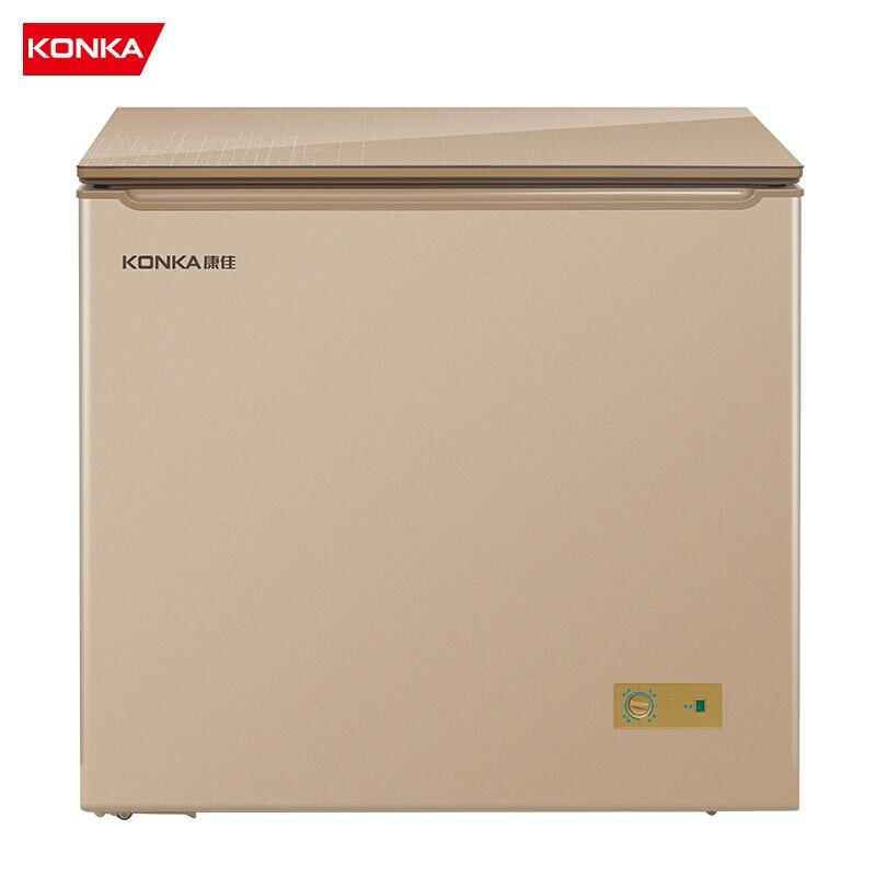 康佳 205升冷柜家用钢化玻璃面板不锈钢内胆智能减霜冷藏冷冻单门冰柜
