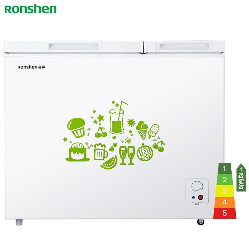 容声 208升冰柜家用商用冷藏冷冻双温双箱冷柜一级能效大容量卧式冰箱