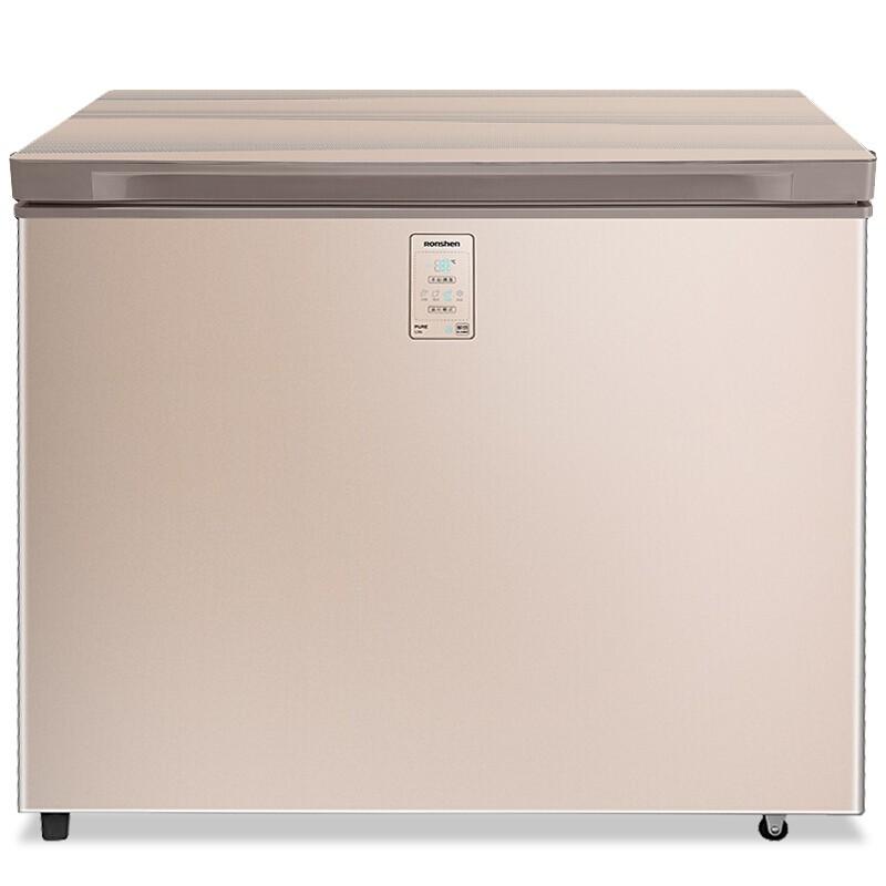 容声 203升电脑控温彩晶玻璃顶开门冰柜冷柜减霜80%单温冰箱一级能效