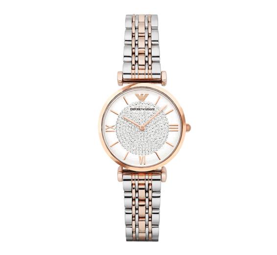 阿玛尼满天星手表 钢制表带 圆形镶钻石英腕表AR1925/AR1926