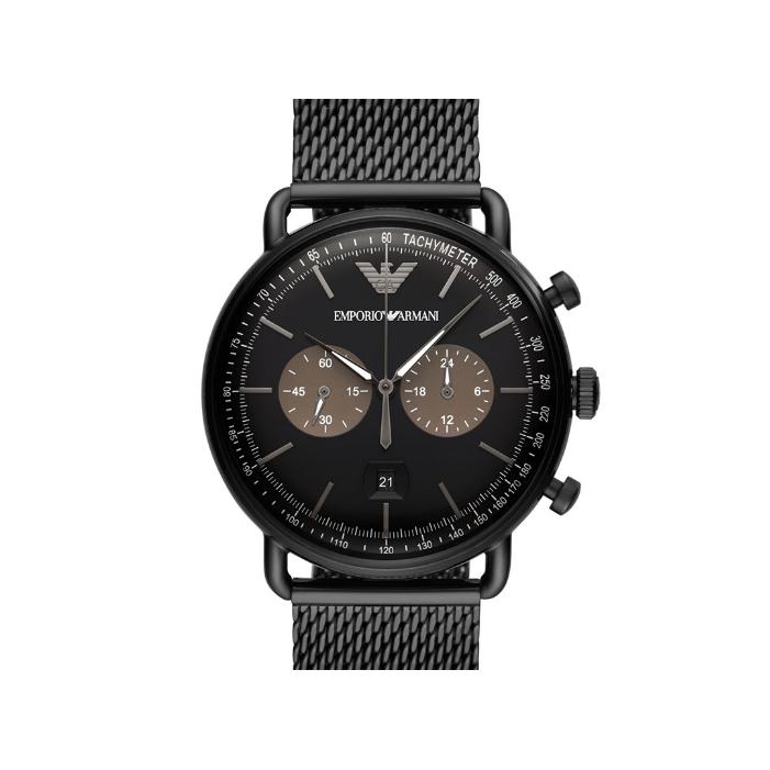 正品阿瑪尼手表 動感時尚編織鋼帶商務休閑手表