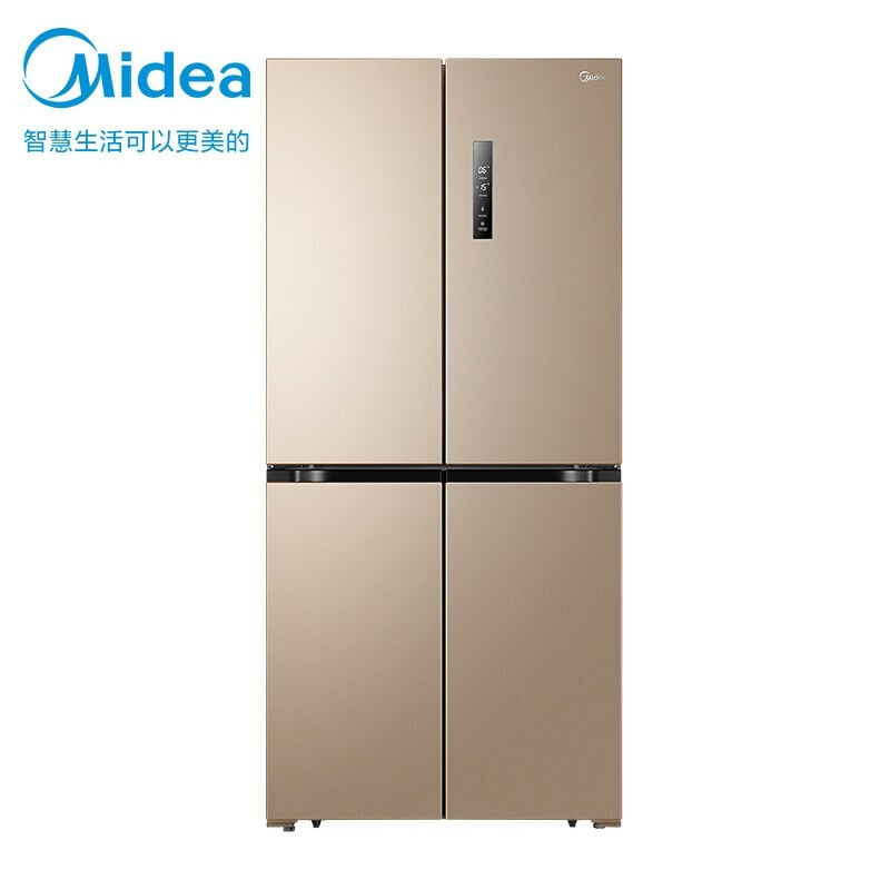 美的 468升电冰箱十字超薄四开门家用冰箱风冷无霜变频节能